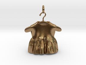 baby dress bell pendant  in Interlocking Raw Brass