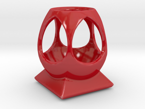 """Phi"" Multipurpose Desk Caddy in Gloss Red Porcelain"