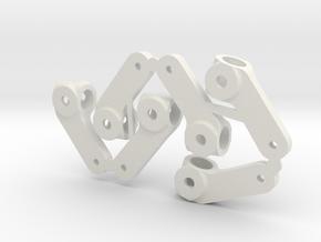 Rubber Tire Steering Arm in White Natural Versatile Plastic
