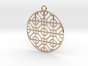 Pendant Chinese Motif 3 in 14k Rose Gold Plated Brass