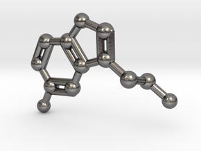 Serotonin Molecule Keychain Necklace in Polished Nickel Steel