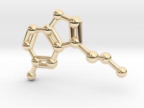 Serotonin Molecule Keychain Necklace in 14k Gold Plated