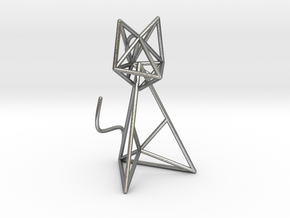 Wireframe Cat in Natural Silver (Interlocking Parts)