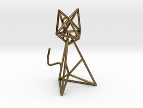 Wireframe Cat in Interlocking Polished Bronze