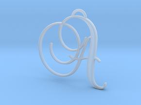 Elegant Script Monogram A Pendant Charm in Smooth Fine Detail Plastic