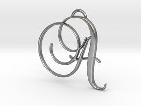 Elegant Script Monogram A Pendant Charm in Natural Silver