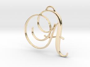 Elegant Script Monogram A Pendant Charm in 14K Yellow Gold