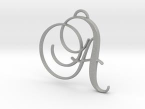 Elegant Script Monogram A Pendant Charm in Aluminum