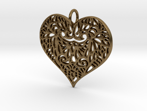 Beautiful Romantic Lace Heart Pendant Charm in Natural Bronze