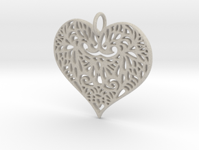 Beautiful Romantic Lace Heart Pendant Charm in Natural Sandstone