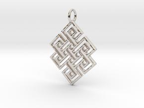 Endless Knot Religious Pendant Charm in Platinum
