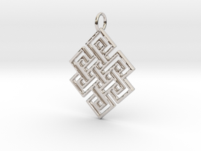 Endless Knot Religious Pendant Charm in Rhodium Plated Brass