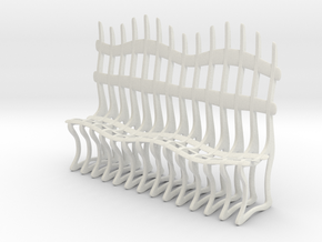 Ribbed Bench in White Natural Versatile Plastic: Small