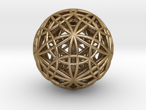 IcosaDodecasphere w/ Stellated IcosiDodecahedron 1 in Polished Gold Steel