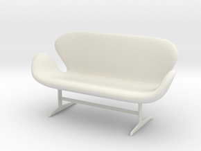 Miniature Swan Sofa - Arne Jacobsen in White Natural Versatile Plastic: 1:12