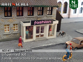Boutique front (N 1:160) in Smooth Fine Detail Plastic