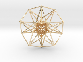 5 Dimensional Toroidal HyperCube 42mm in 14k Gold Plated Brass
