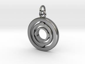"Rotating Suspension ""Orbit"" in Interlocking Polished Silver"