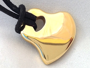 2HEARTS PENDANT in Polished Brass