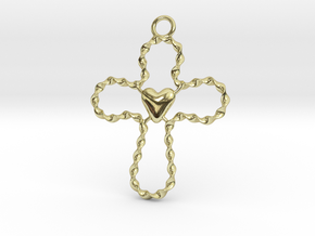 Spiral Cross in 18k Gold Plated Brass
