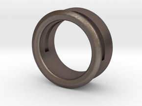 Modern+Offset Ring in Polished Bronzed Silver Steel: 6 / 51.5
