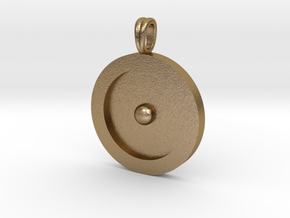 Circumpunct Dot Circle symbolic Jewelry Pendant in Polished Gold Steel