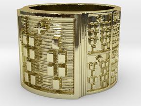 ODITRUPON Ring Size 13.5 in 18k Gold Plated Brass