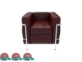 Miniature LC2 Poltrona Chair - Le Corbusier in White Strong & Flexible: 1:24