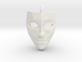 Mask Pendant in White Natural Versatile Plastic
