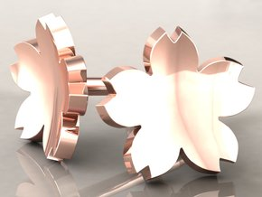 Cherry Blossom Solid Earrings Small in 14k Rose Gold Plated Brass