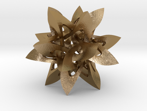 Icosarachnehedron in Polished Gold Steel