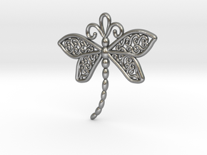 Dragonfly Earrings or pendant in Natural Silver