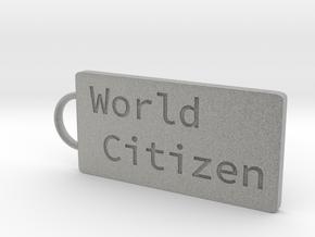 World Citizen Keychain in Metallic Plastic