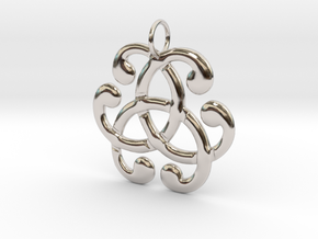 Health Harmony Therapy Celtic Knot in Rhodium Plated Brass: Medium