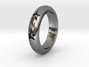 Ring Of Stars 14.9mm Size 4 in Fine Detail Polished Silver