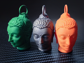 Gandhara Buddha Keychains 2 inches tall in Green Processed Versatile Plastic