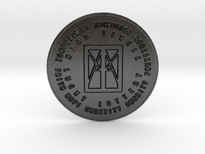 I AM that I AM Coin of 7 Virtues Large in Matte Black Steel
