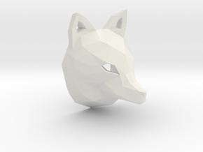 Low Poly Fox Pendant in White Natural Versatile Plastic