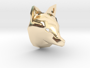 Low Poly Fox Pendant in 14k Gold Plated Brass