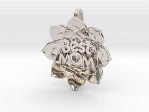 Mother's Day - Flower Pendant #BestMom in Platinum