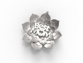 Mother's Day - Flower Pendant #BestMom in Polished Bronzed Silver Steel