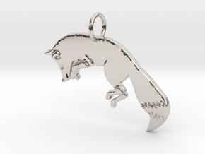 The fox in Rhodium Plated Brass