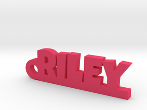 RILEY Keychain Lucky in Polished Bronzed Silver Steel