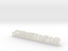 CHRISTOFOR Keychain Lucky in White Strong & Flexible Polished