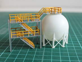 N Scale Spherical Tank + Walkway in Smooth Fine Detail Plastic