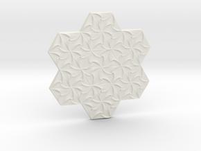 Hexagonal Spirals - Medium-sized Miniature in White Natural Versatile Plastic