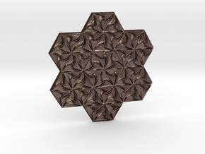 Hexagonal Spirals - Medium-sized Miniature in Matte Bronze Steel