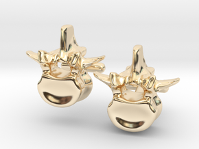 Lumbar Vertebra Cufflinks - Uninscribed in 14K Yellow Gold