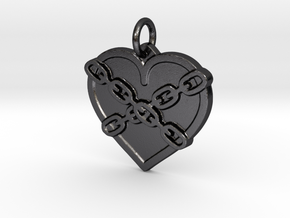 Chained heart in Polished and Bronzed Black Steel