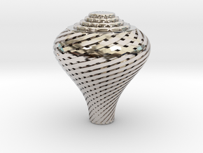 Pear Twisted Knob in Rhodium Plated Brass